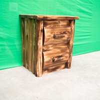 Torched Cedar Log Nighstand