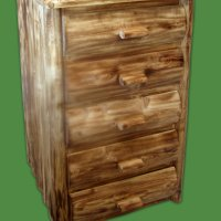 5 Drawer Torched Log Dresser