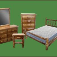 Torched Cedar Log Bed Frame
