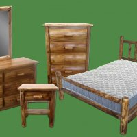 Log Bedroom Set in a Torched Finish
