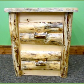 Rustic Pine Log Nightstand