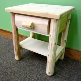 Merveilleux Northern White Cedar 1 Drawer Log Nightstand W/ Shelf