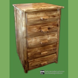 5 Drawer Torched Log Dresser