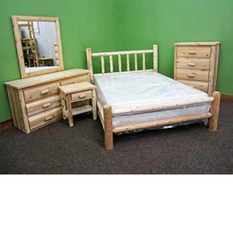 White Cedar 5pc Log Bedroom Set Twin