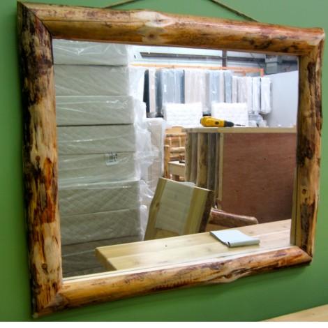 pine log mirror