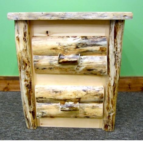 Rustic Pine Log Nightstand