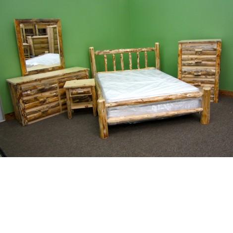 Northern Rustic Pine 5 PC. Log Bedroom Set