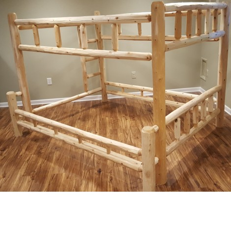 Northern White Cedar Log Bunk Bed Twin Over Queen Amish Log Furniture