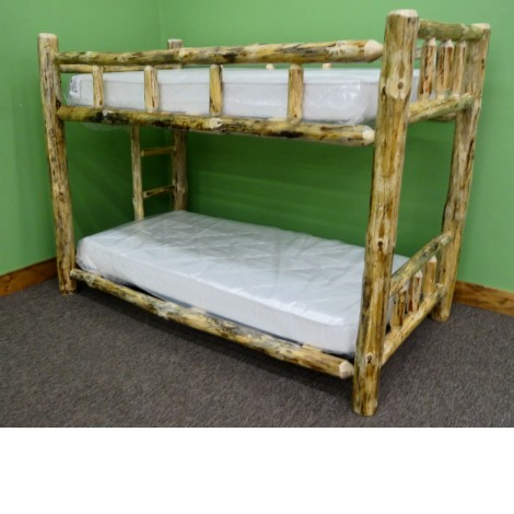 Northern Rustic Pine Log Bunk Bed Amish Log Furniture