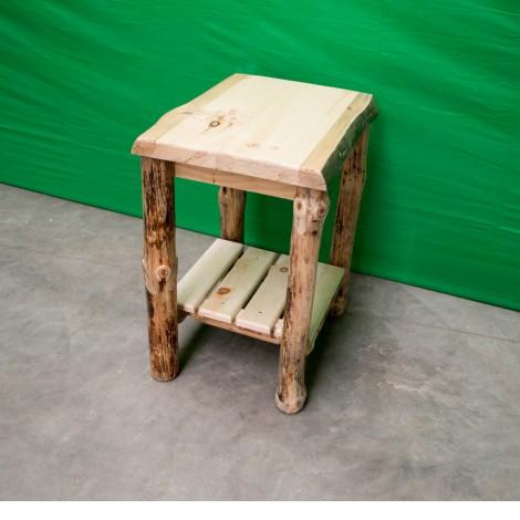 Northern Rustic Pine Log Sofa End Table