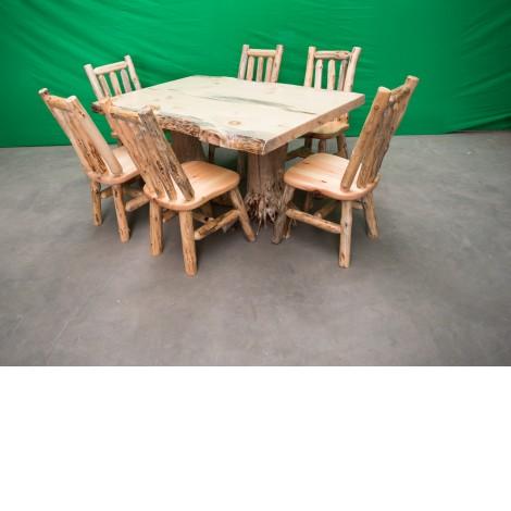 Northern Rustic Pine Log Stump Kitchen/Dining Table Amish Log Furniture