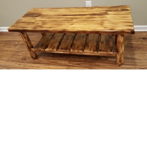 Northern Torched Cedar Log Coffee Table Amish Log Furniture