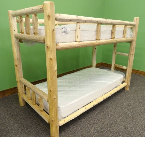 Northern White Cedar Log Bunk Bed Amish Log Furniture