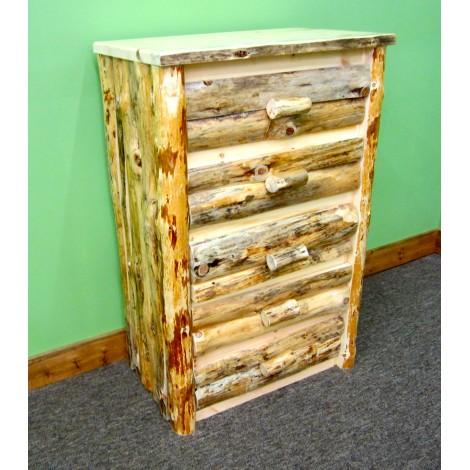 Northern Rustic Pine 5 Drawer Log Dresser