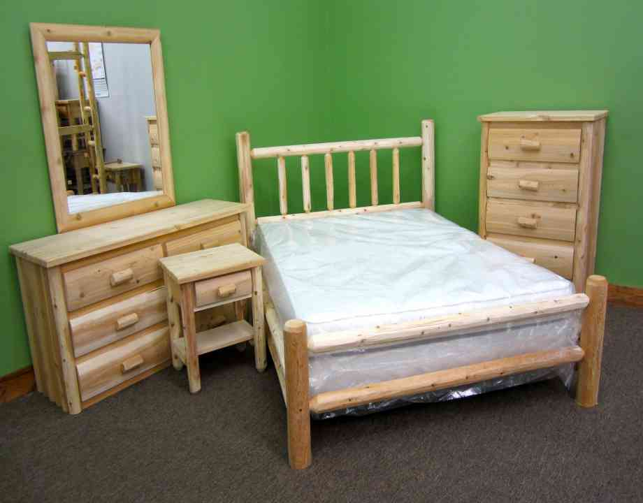 Northern White Cedar 5PC. Log Bedroom Set Northern White Cedar Collection